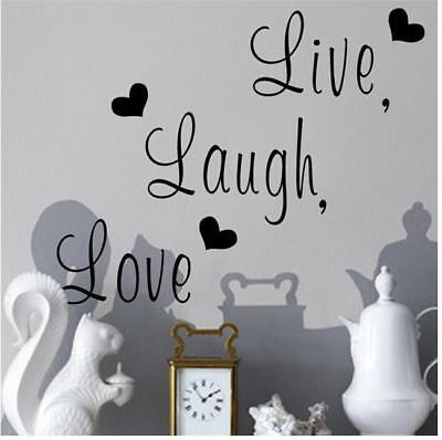 PVC Live Laugh Love Heart Quote Wall Stickers Decal Home Room Art Decor Paper Z