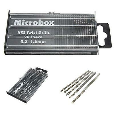 20pc HSS High Speed Steel Metal Micro Tiny Drill Bit Set Metric 0.3mm-1.6mm Z