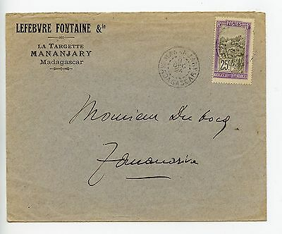 Madagascar 1924 commercial cover Mananjary to Tananarive (M498)