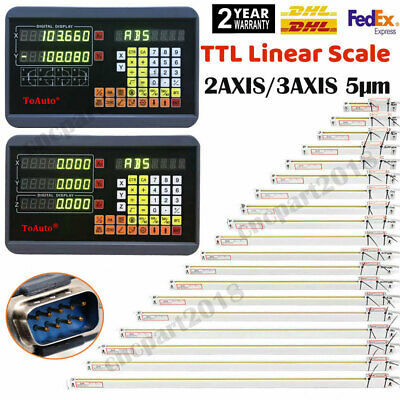 2/3 Axis Digital Readout DRO Display TTL Linear Glass Scale Encoder Mill Lathe