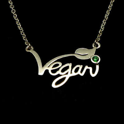 Silver Plated Vegan Necklace Letters + Green Stone - Cruelty Free Jewellery 45cm