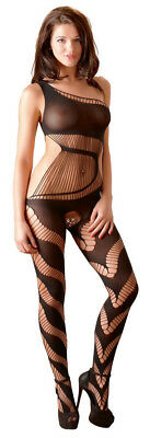 Sexy Catsuit Deluxe Bandeau Bänder Look Schwarz Body Stocking Gr. One Size S - L