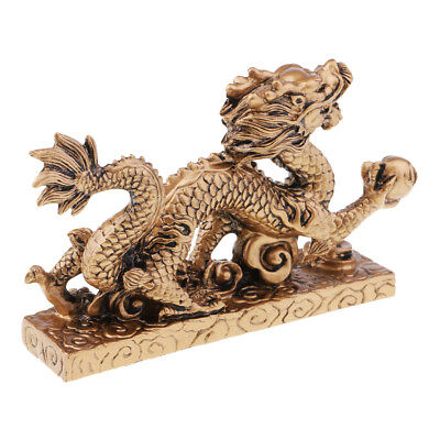 Chinese Archaic Bronze Dragon Lucky Wealth Statue Home Decoration Craft