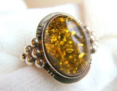 Baltic Amber Ring in Sterling Silver Vintage