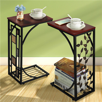 C Small Sofa Side End Table Narrow Snack Couch Table Stand Living Room Woodtop