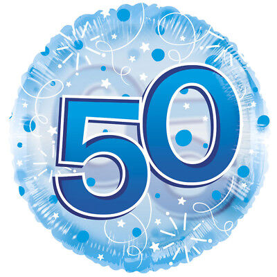 """50th Birthday Blue 24"""" Clearview Fifty Fiftieth Balloon Party Decorations"""