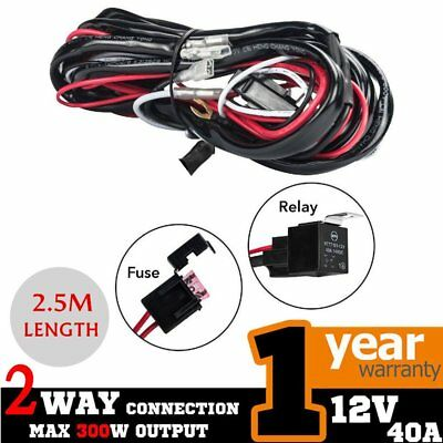 2 WAY Heavy Duty LED Light Bar Wiring Loom Harness 40A Switch Relay Kit 12V PS
