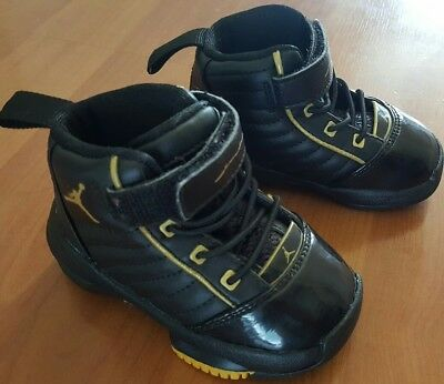 31ae0a7905ec2 Nike Air Jordan 040810 Infant Baby Boys Black Gold Basketball Shoes worn  once