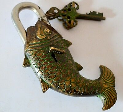 Brass Unique Fish Shape Vintage Indian Hand Crafted  Antique Padlock With 2 Key