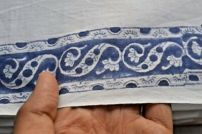 Indian 2.5 Yard New Hand Block Print White floral Cotton Craft Sewing Fabric