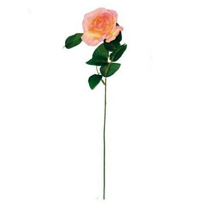 Artificial Silk Rose Bloom Flower Stem - Ombre Peach Pink