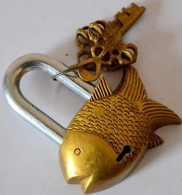 Hand Crafted Brass Unique Fish Shape Vintage Indian  Antique Padlock With 2 Key