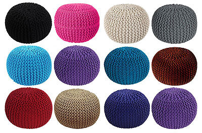 Furniture Round Cotton Knitted Pouffe Ball Large 50cm Foot Stool Braided Cushion Seat Rest