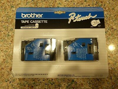 2 pack Brother P-Touch genuine original TC-20 BLACK ON WHITE Label Tape 1/2""