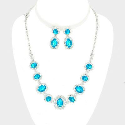Aqua silver tone rhinestone crystal necklace set brides proms party sparkly 249