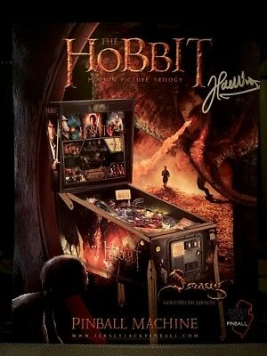 Autographed Jersey Jack The Hobbit Smaug Gold Special Edition Pinball Flyer!