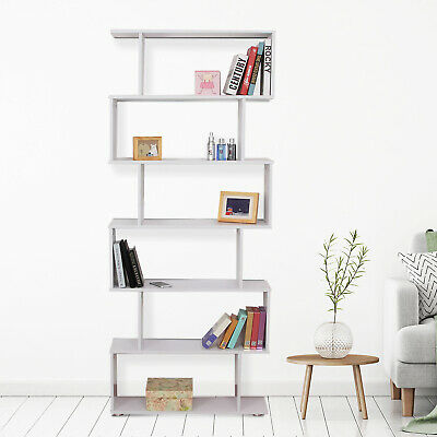 6 Tier Wooden Bookcase S Shape Storage Organizer Home Office White