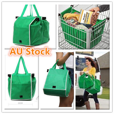 2/4Pcs Foldable Shopping Bags Reusable Eco Grocery Cart Trolley Bag Carry Handle