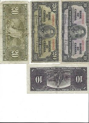 Canadian Paper Currency - One each of a 1937 $20 and $10 bills!