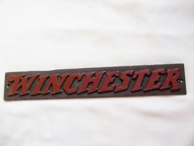 Cast Iron Winchester Gun Advertising Sign Plaque With Raised Letters