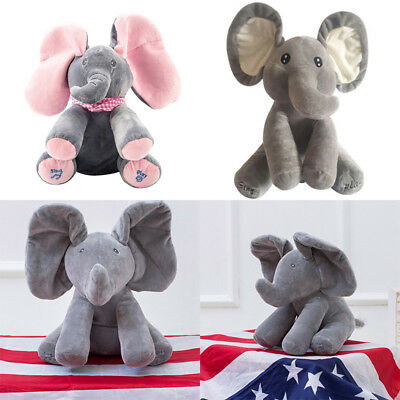 Peek-a-boo Elephant Baby Plush Toys Singing Stuffed Animate Animal Kids Gift 12""