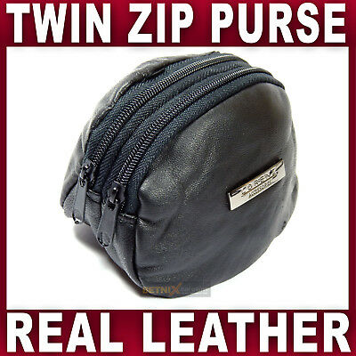 REAL LEATHER KEY & COIN HOLDER bag money change purse Gents Ladies Womens Mens