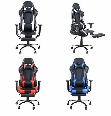 High Back Executive Computer Desk Task Office Chair Black Racing Gaming Recliner