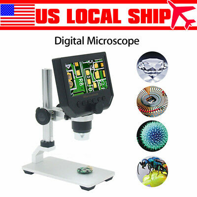 4.3'' 1-600X Digital Microscope 8 LED Endoscope HD 3.6MP CCD Magnifier Camera