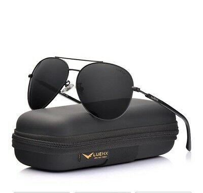f43da7b7c3 UV 400 Mirrored Sunglasses for Men Women LUENX Aviator Polarized Black with  Case
