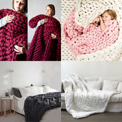 US Large Luxury Chunky Wool Knitted Throw Blankets Soft Warm Bedspread Manual