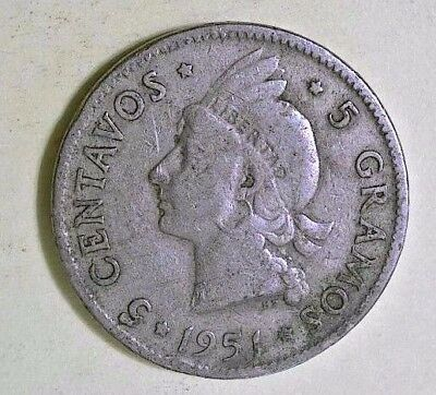 Dominicana 1951  - 5 Centavos- Circulated-Very Good Free Shipping KM  18   #5051