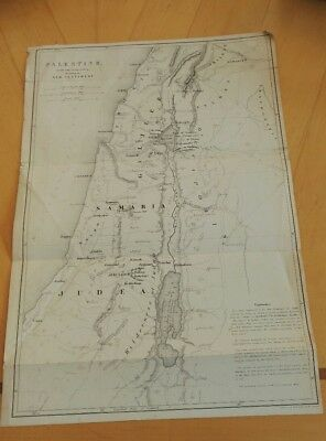 c1850 ANTIQUE MAP PALESTINE IN THE TIME OF OUR SAVIOUR JUDEA GALILEE W HUGHES