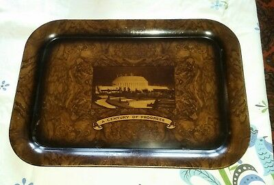 1934 Chicago Worlds Fair FORD: A Century of Progress Metal BAR TRAY-Rare!