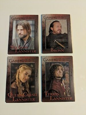 Game of Thrones Season 3 Jaime Tyrion Cersei Lannister Bronn @Lot of 4 Cards