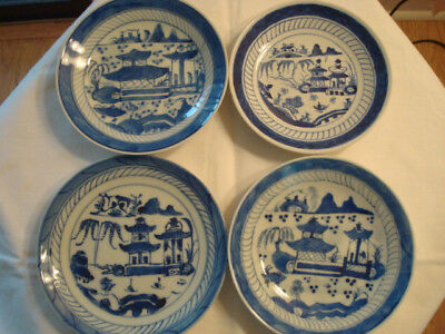 4 Antique Canton Chinese Export Bowls Plates Dishes 1830 Blue White Asian AS IS