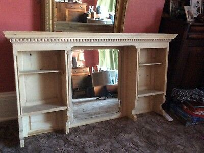 Original Edwardian Over Mantel Shelving Unit Complete With Bevelled Mirror