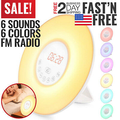 Sunrise Alarm Clock Radio Wake Up Light Digital FM Natural Bedroom Music Therapy