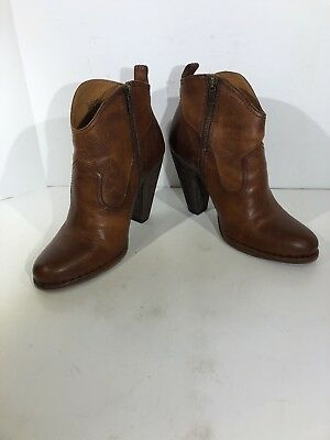 f61619d7e515 Frye Madeline Short Womens Size 9 Cognac Brown Leather Ankle Boots FB-170