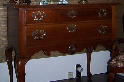 Vintage HICKORY CHAIR MAHOGANY Queen Anne LOWBOY CHEST CONSOLE Brass Hardware