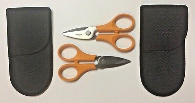 Lot of 2 Fiskars Beading Snips (Data-Comm less wire stripper/palm grip) NEW