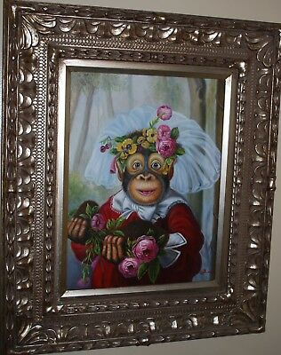 Original 12 x 16 COOKIE Framed Oil PAINTING on Canvas by Artist S Mori