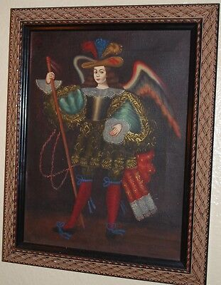 Original 12.5 x 16 Unsigned Framed Oil Painting on Canvas of Archangel Michael