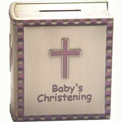 Pewter Bible Shaped Money Box - Pink