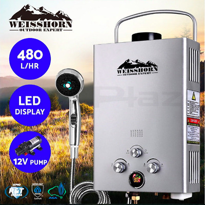 Portable LED Gas Hot Water Heater Shower Camping Safety 12v Pump 480L/H Silver