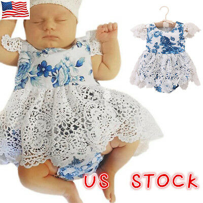 Newborn Baby Girls Lace Floral Romper Jumpsuit Dress Outfits Summer Clothes US