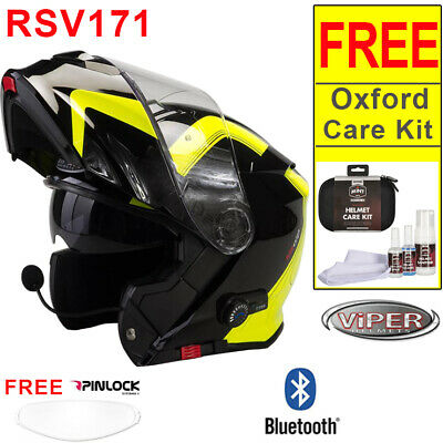 RS-V171 BL+ 3.0 Flip Up Motorcycle Helmet Yellow Pinlock + Oxford Care Kit OF608
