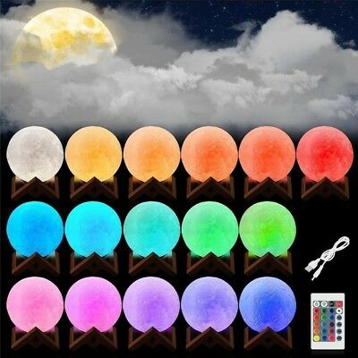 3D Print RGB Color Changing Moon Light LED Remote Control USB Desk Night Lamp