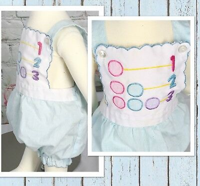 Vintage Cradle Togs Baby 12 Mo Romper 123 Summer Very Cute Robins Egg Blue