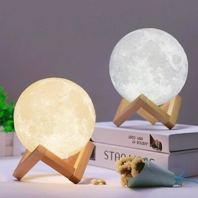 LED Luna Night Light 3D Printing Moon Lamp Touch Control USB Charging Gift Decor