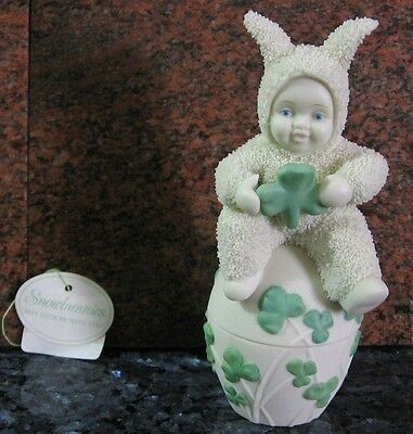 Keepsake Bunny Egg-Shamrock Accent Style-Snowbunnies-By Department 56 -Id.56.381
